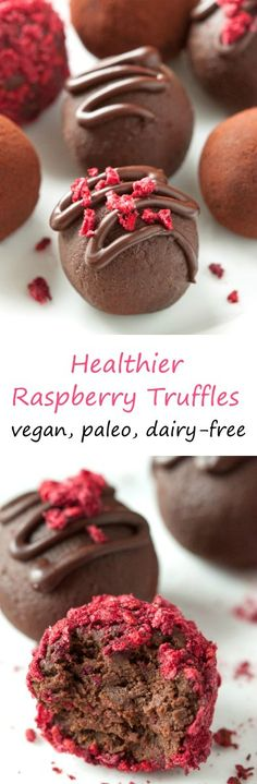 These healthier raspberry truffles only have four ingredients and are vegan, dairy-free, paleo-friendly and naturally grain-free and gluten-free.