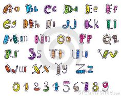 Colored cartoon alphabet with numbers for children