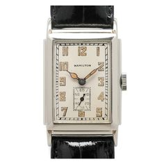 Hamilton White Gold Andrews Rectangular Wristwatch circa 1932 | 22 X 36mm stepped case, calibre 401, 19-jewel manual-wind movement with subsidiary seconds, silvered dial with luminous indexes and hands.