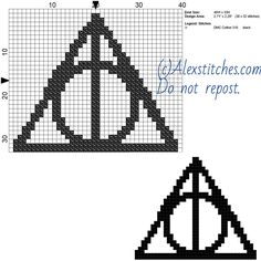 Harry Potter deathly hallows symbol free cross stitch pattern 40x33 1 color