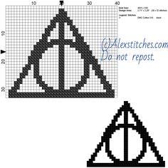 Harry Potter deathly hallows symbol free cross stitch pattern 40x33 1 color