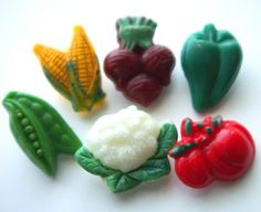 1940s Realistic Glass Vegetable Buttons