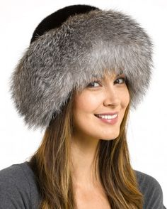 ee7bf8abfb4 Raylene Black Fox Fur Roller Hat with Mink Top