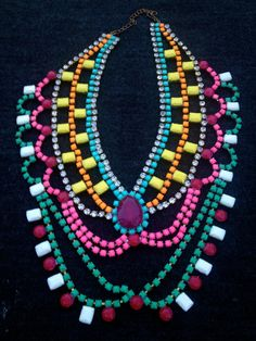 Vintage Neon Hand Painted Rhinestone Statement Necklace via Etsy.