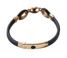 Baraka Bracelet 18K Yellow Gold Rubber Bangle Fine 18 k Gold Bead Elements  #Handmade #Bangle