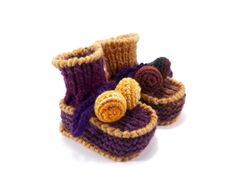 Baby Booties Knitted  Purple and Light Brown 0  by SasasHandcrafts