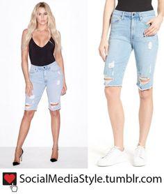 Buy Khloe Kardashian's Good American Ripped Bermuda Jean Shorts, here!