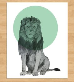 Lion Pop Circle Art Print by Morgan Kendall Art on Scoutmob