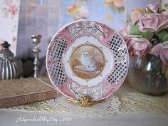 Coalport White Cat Dollhouse Miniature Plate by alavenderdilly, $4.25