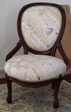 "Grandma's Slipper Chair... upholstered in  my ""gypsy wife"" quilt by Bruce chandler of Westmont NJ"