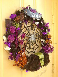 Festive Halloween Wreath by LittleWreathShoppe on Etsy, $70.00