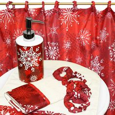 Christmas Snow Flake Red 16 Piece Fabric Holiday Shower Curtain And  Accessory Set