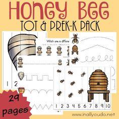Free Printable Honey Bee Printable Preschool Pack!