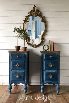 Your place to buy and sell all things handmade - Sold Sold Dark blue painted nightstands navy side Best Picture For bedroom decored For Your Taste - Painted Bedroom Furniture, Refurbished Furniture, Repurposed Furniture, Shabby Chic Furniture, Furniture Makeover, Rustic Furniture, Modern Furniture, Luxury Furniture, Wooden Bedroom