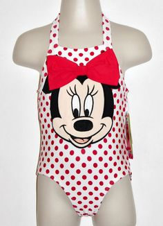 795253f50b7c5 Disney Baby Girls Minnie White Red One Piece Swimsuit Swimwear 3 6M 6 9M