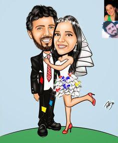 Caricaturas digitais, desenhos animados, ilustração, caricatura realista: Desenho de festa junina !!
