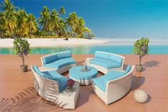 www.customwickerfurniture.com Cassandra Round White Wicker Viro Fiber Sectional Sofa Set Patio Furniture 9