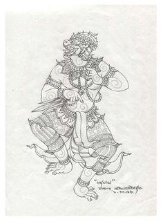 ศิลปะ:Drawing&Design.เกี่ยวกับรามเกียรติ์. Cambodian Tattoo, Khmer Tattoo, Thai Tattoo, Thailand Tattoo, Thailand Art, Balinese Tattoo, Drawing Sketches, Art Drawings, Hanuman Tattoo