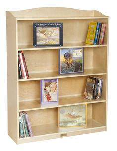 Guidecraft 5 Shelf Bookshelf, Beige & Tan