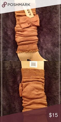 BOOT WARMERS!!! NWT! Stylish dark tan boot warmers are super adorable with a bow in front! ENVY Accessories