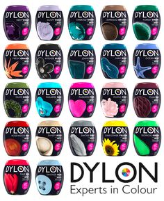 22 Colours Dylon Fabric & Clothes Dye Machine Wash Pod/ Pouch With Salt & Garden Olives, Clothes Dye, Tie Dye Kit, Blue Peonies, Handwashing Clothes, Thing 1, Deep, How To Dye Fabric, Orange