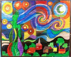 Whimsy Workshop Teaching: Sight Word Rings and Van Gogh Group Art Projects, Collaborative Art Projects, Classroom Art Projects, School Art Projects, Art Classroom, Classroom Freebies, Vincent Van Gogh, 5th Grade Art, Van Gogh Art