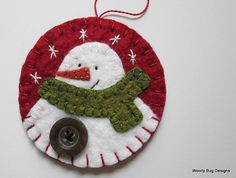 White Wool Felt Snowman with Button, Handstitched Snowflakes, Red Wool Felt Ornament