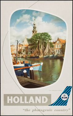 KLM Airlines Holland Travel Poster (1960s)