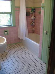 vintage pink and green tiled bathroom