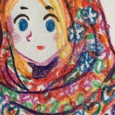 http://titoun-blog.blogspot.fr/ motif russe / châle / illustration / crayons de couleur