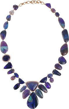 IRENE NEUWIRTH JEWELRY Lightening Ridge Opal Necklace With Diamond Pave