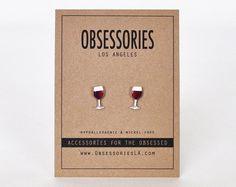 Red Wine Stud Earrings Glass Of Wine Glass Merlot par ObsessoriesLA