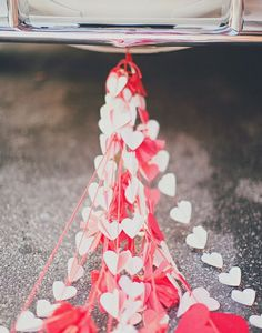 Trailing Hearts Wedding Car Decoration - from the Valentine's Day Wedding Lookbook