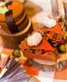 Pumpkin pie favor boxes filled with pumpkin candy and harvest cookies tied up with ribbon!