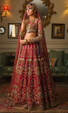 Zardozi and beads embroidered Deep Red Wedding Lehenga – Panache Haute Couture Indian Wedding Lehenga, Bridal Lehenga Choli, Pakistani Wedding Dresses, Bridal Dresses, Wedding Lehenga Designs, Wedding Hijab, Pakistani Outfits, Ball Dresses, Boho Wedding