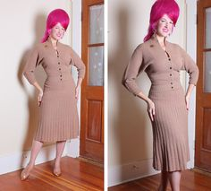 BOMBSHELL 1950's Sweater Girl Hourglass Taupe by butchwaxvintage, $175.00