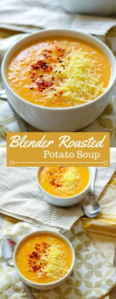 Roasted potatoes, carrot and onion make up this creamy and savory soup. Throw these roasted veggies in a high-power blender along with milk, chicken broth and spices and you& got a warming roasted potato and veggie soup! Vitamix Soup Recipes, Ninja Blender Recipes, Ninja Recipes, Cooking Recipes, Healthy Recipes, Puree Soup Recipes, Smoothie Recipes, Blended Soup Recipes, Juicer Recipes