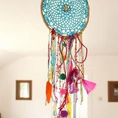 Turquoise Crochet Dreamcatcher. Always wanted to try making a dreamcatcher.