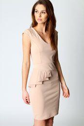Rebecca Side Peplum V Neck Dress