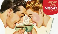 Vintage Advertising : The coffee date ~ ad by Nestlé. Vintage Advertising Campaign The coffee date ~ ad by Nestlé. Advertisement Description The coffee date ~ ad by Nestlé. Sharing is love ! 1950s Ads, Retro Ads, Vintage Advertisements, Vintage Ads, Vintage Prints, Coffee Poster, Coffee Art, Coffee Blog, Vintage Pictures