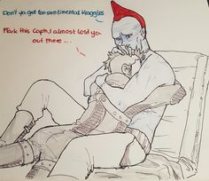 Yondu and younger Kraglin, after Yondu recovers from an injury... (at least this is what I think this is)
