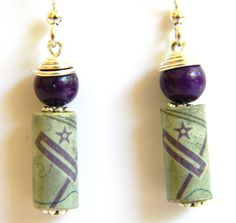 Paper Bead Jewelry Aviation Map Chart Earrings by BeadAmigas