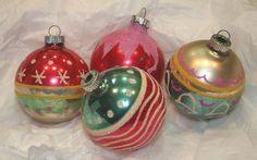 "4"" Shiny Brite USA Mica Christmas Ornaments Patriotic Pink Snow Stars Bells Vtg"
