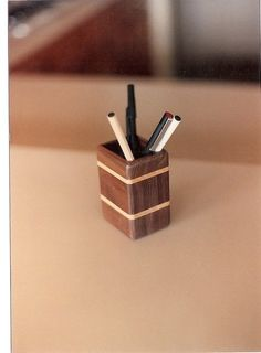Desk Accessories in Mixed Woods : Pencil Cup