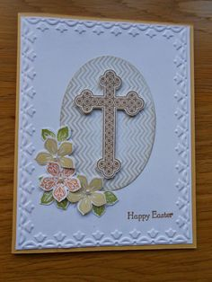 Petite petals stamps and punches were used again with the trefoil cross and framed tulips embossing folder. So saffron and baked brown sugar colour combination