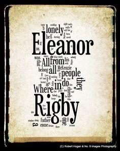 Eleanor Rigby Lyrics - The Beatles Word Art - Word Cloud Art Print 11x14 - Gift Idea. $25.00, via Etsy.