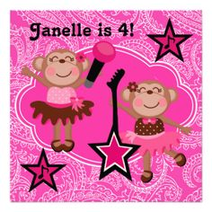 The little rock star will love this pretty in pink Rock Star Monkeys birthday invitation that features little monkeys in tutus dancing and singing with guitars and microphones! You can easily customize these cute monkey birthday invitations with your child's party specifics before ordering. #birthday #girls #children #cute #customized #rock #star #karaoke #singing #dance #monkeys #kids #peacockcards #party #parties #custom #dancing