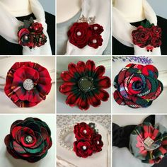 A selection of tartan and Harris Tweed brooches and corsages from Braw Bricht Crafts on Etsy.com Tartan Fabric, Tartan Plaid, Fabric Flower Brooch, Fabric Flowers, Tartan Crafts, Tartan Wedding, Fiber Art Jewelry, Tartan Christmas, Scottish Gifts