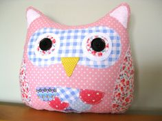 Little Owl Crafts on Etsy https://www.etsy.com/listing/129163131/handmade-owl-cushion-pink-and-blue