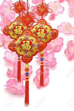 Photo about Chinese new year traditional ornaments on cherry blossom background. Image of craft, traditional, ornament - 18044264 Chinese New Year Traditions, Chinese New Year Greeting, Chinese New Year 2020, Year Of The Rabbit, Year Of The Monkey, Year Of The Pig, Chinese Culture, Chinese Art, Chinese Theme